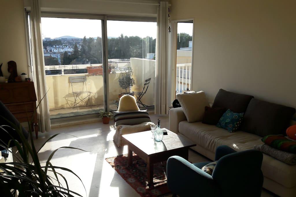 vue du salon sur la petite terrasse (6m2)
