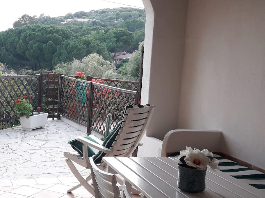 Ingresso veranda panoramica con vista mare