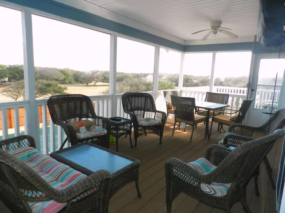 Screened Back Porch with TV