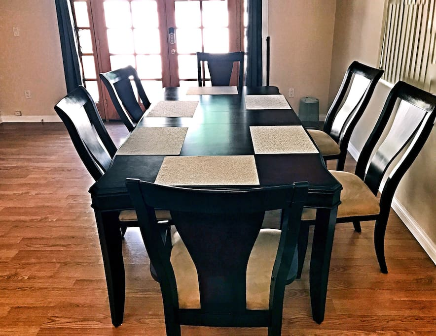 Large dining table sits for 6
