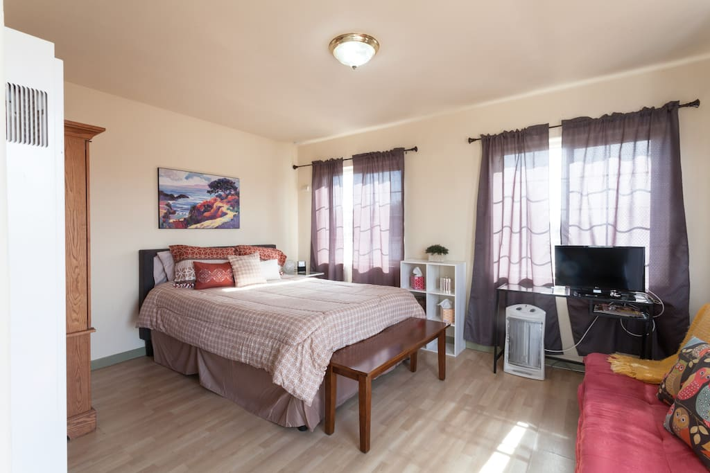 Spacious studio with Queen bed