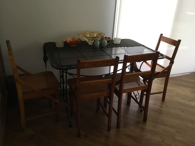 Dining table within the living room