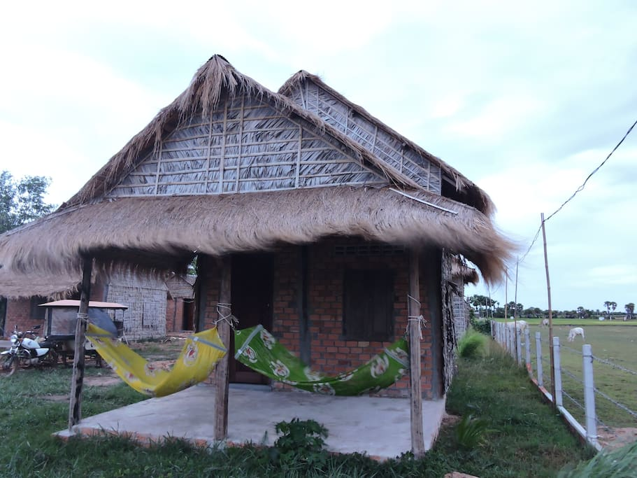 Private large bamboo bungalow with terrace.