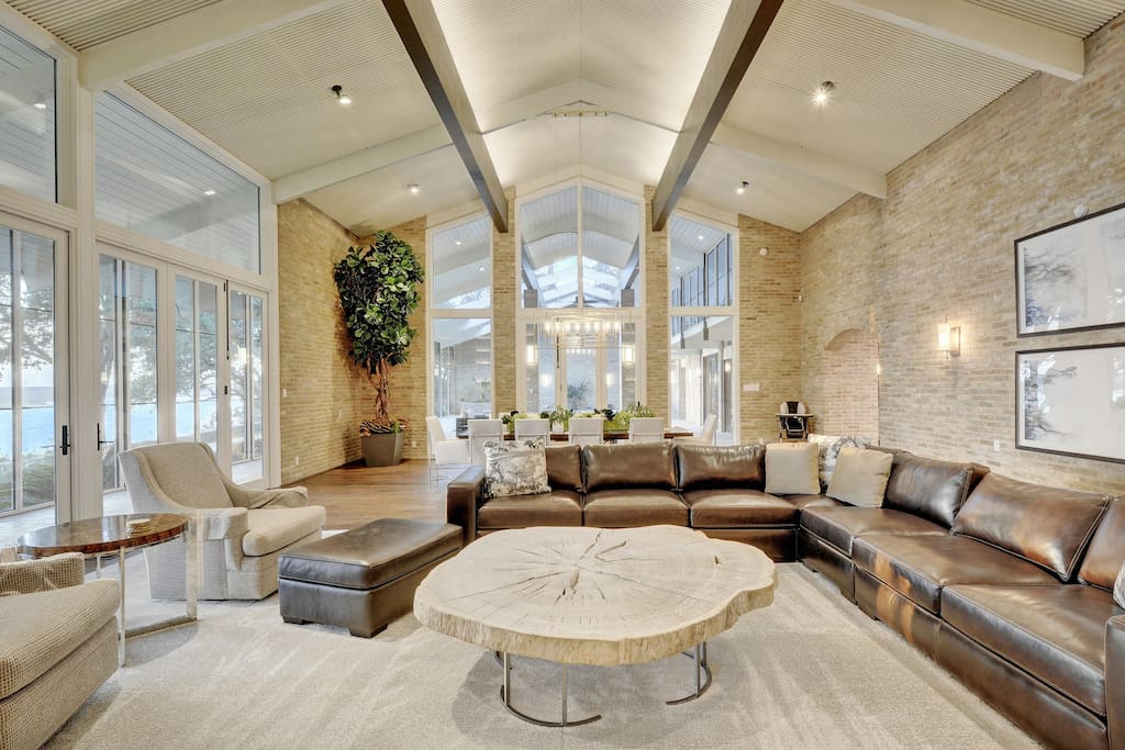 Open-concept layout and statement furniture in the grand living area