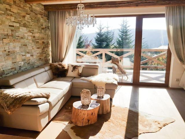 Daily room with  smart TV and large patio.  Obývacia miestnosť s TV a rozľahlou terasou.