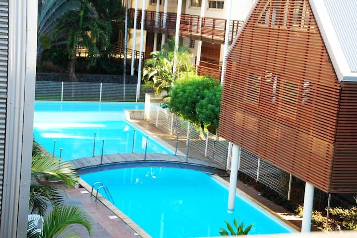 Appartement proche lagon avec Piscine et Parking