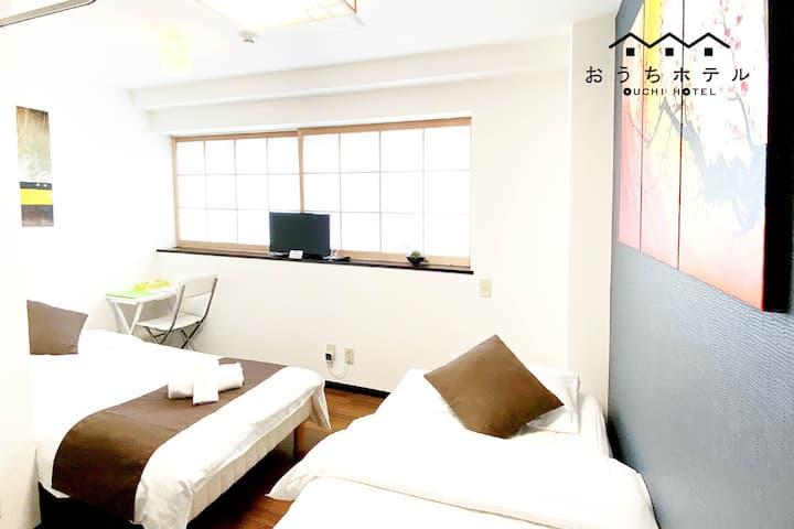 C33 Remodeled Cute designer room near JR sta.!
