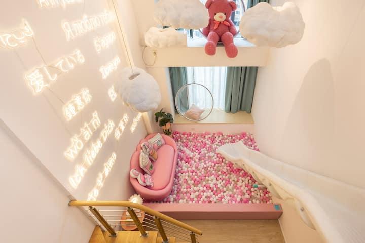 网红LOFT公主房/霓虹灯墙/粉色泡泡球/童趣滑梯/网红透明球/兔子床/高清100寸私人影院