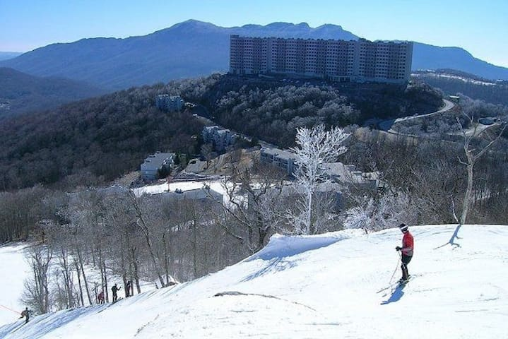 Sugar Top Condo with Ski Slope View! Heated Pool!
