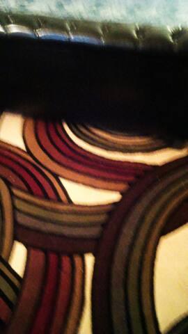 Beautiful rug inside room.