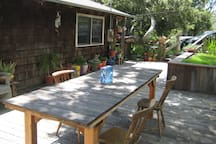 Hand crafted redwood table, great for outdoor dining