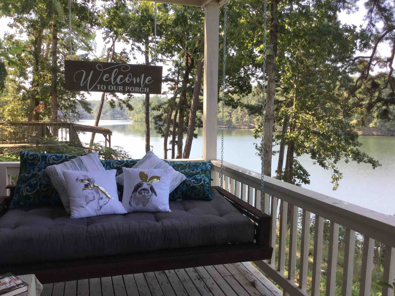 Welcome to Charming Porch Room on Lake Norrell B&B.  We know you will love your own daybed swing on the private porch.