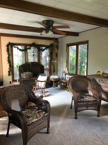 Open warm living room area