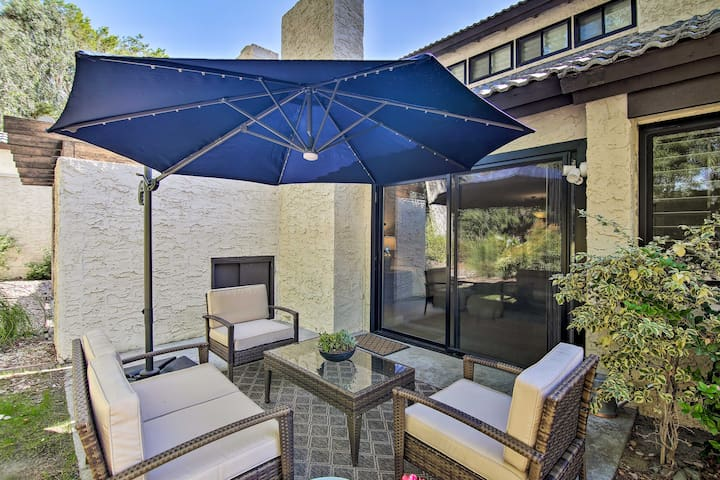 Sip morning coffee and evening nightcaps on the vacation rental's private patio.