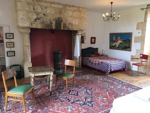 La chambre est spacieuse, une vraie suite et lumineuse grâce aux grandes fenêtres. Sur cette prise de vue: la grande cheminée et le lit simple .