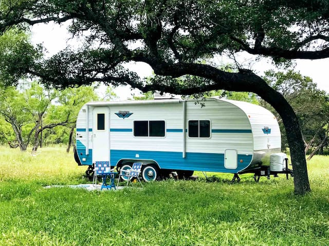 Romantic Stay In Baby Blue Retro Camper