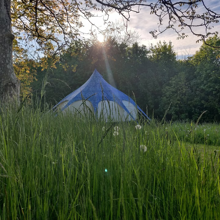 Glamping in a meadow near Gudhjem and waterfall