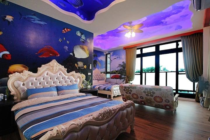 海洋風四人房2樓-陽台+浴缸