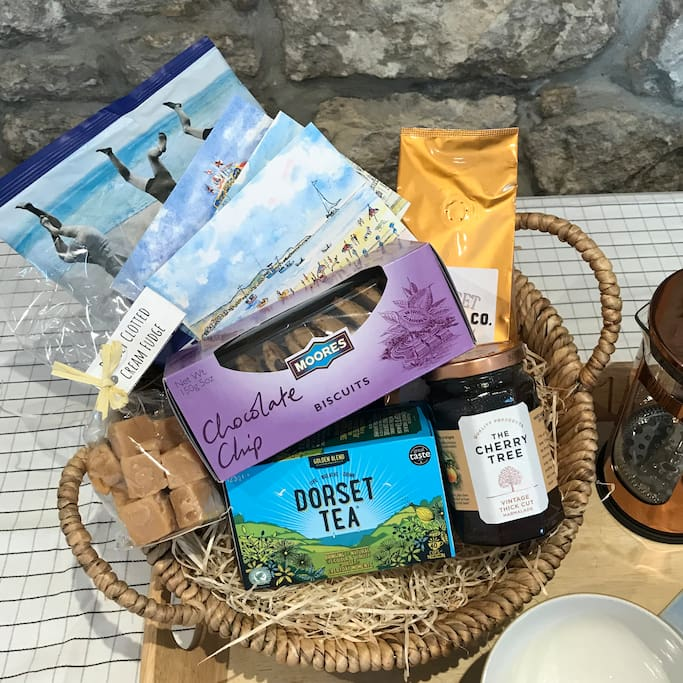 A delicious welcome basket provided for our week stays or longer. Tea, coffee, biscuits and fresh milk provided for our shorter stays.