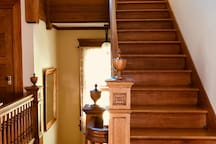 Center staircase with ornate Victorian details