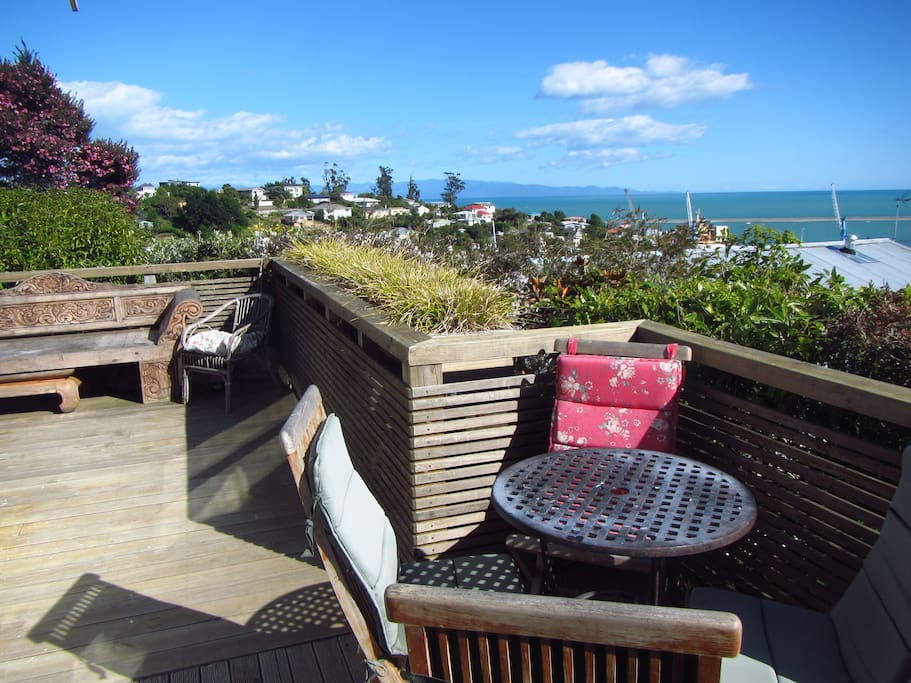 Deck with views north over Tasman Bay