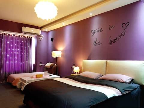 【木子里】紫色恋人房。已消毒,放心入住。