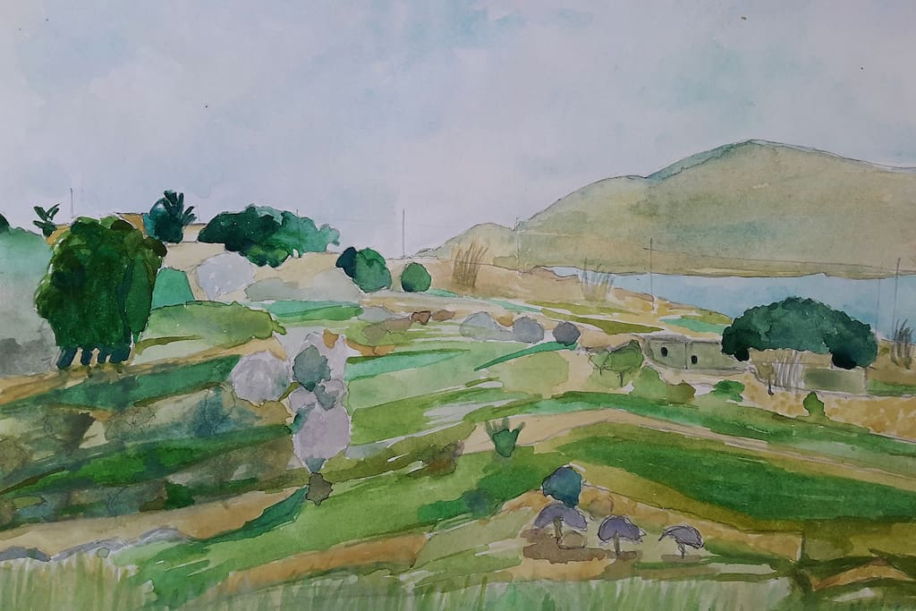 Front Terrace View Water Colour Painting by Monica W., one of our guests from Edinburgh, Scotland last February!