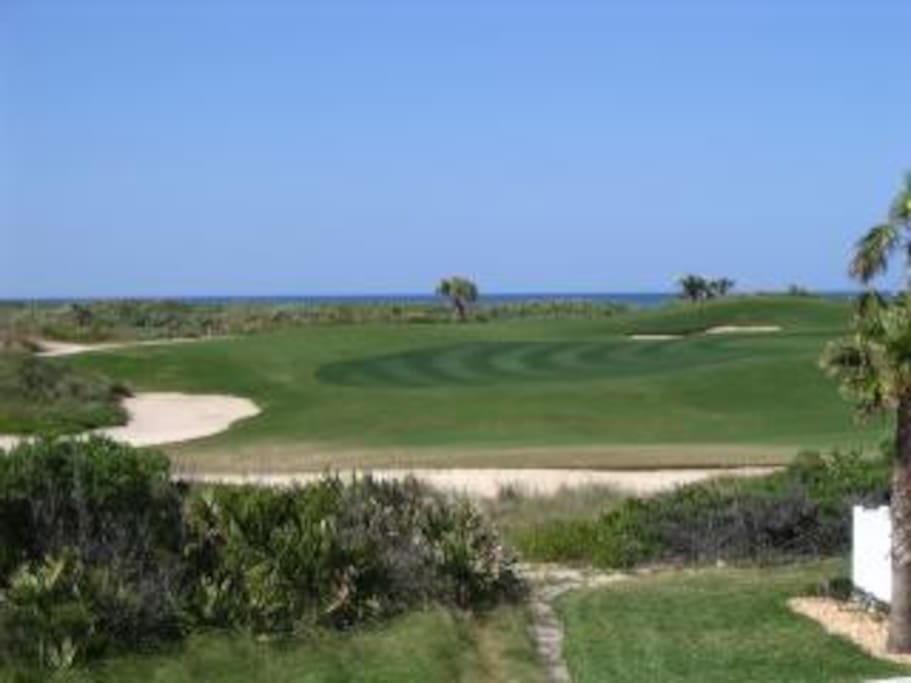 Golf course view, with ocean in distance (better ocean views directly looking east)