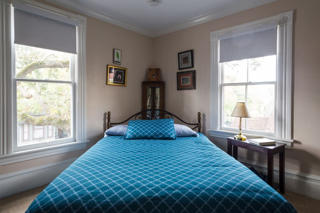The comfy queen-sized bed is nestled in the loving arms of  the century oak outside your window.