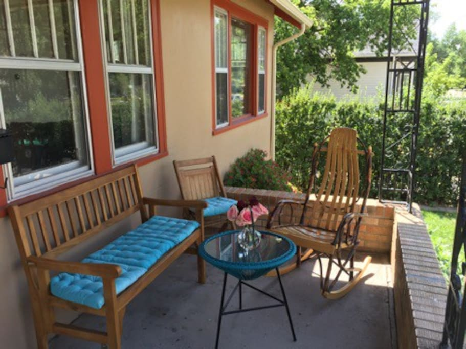 Our front porch. A shaded breakfast spot and a great place for a drink during the sunny afternoon!