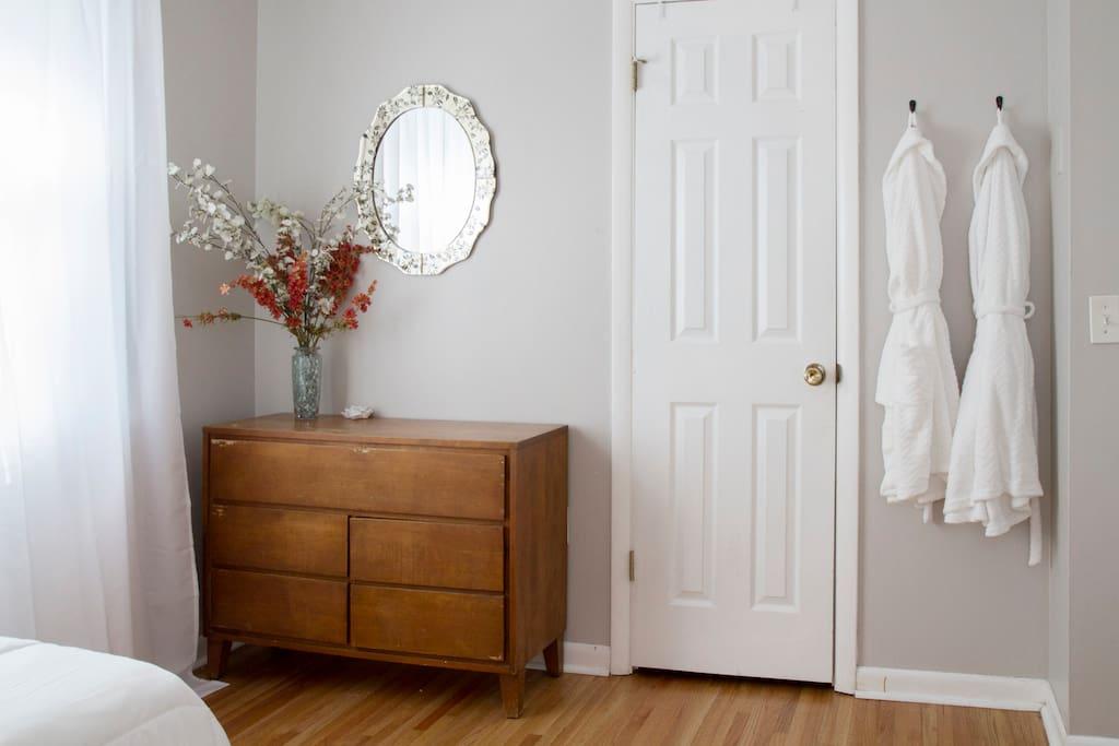 The Flower Room-Dresser, closet, super soft robes for your enjoyment.