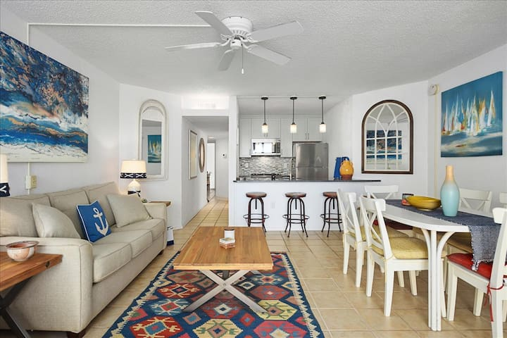 Living and dining areas, kitchen