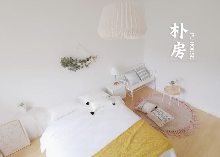 朴房「木吉ROM1」合租|超近桔园洲地铁口|五室一厅两卫|乳胶床|大客厅|采光好|独立设计师