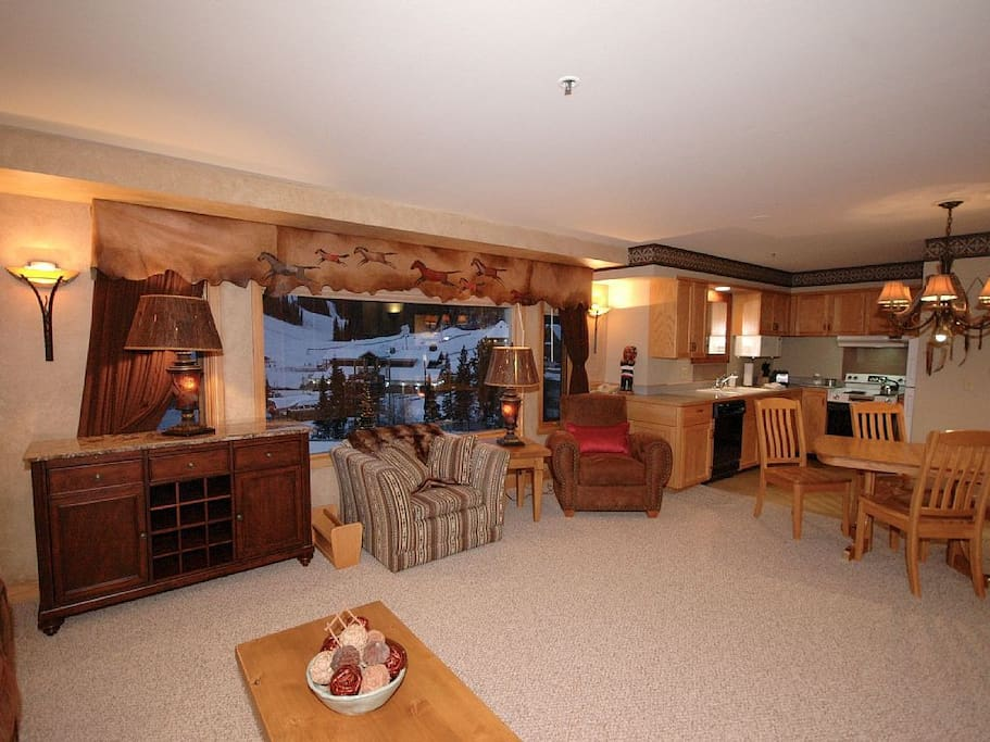 Large picture windows with balcony, views of ski runs, mountain village....