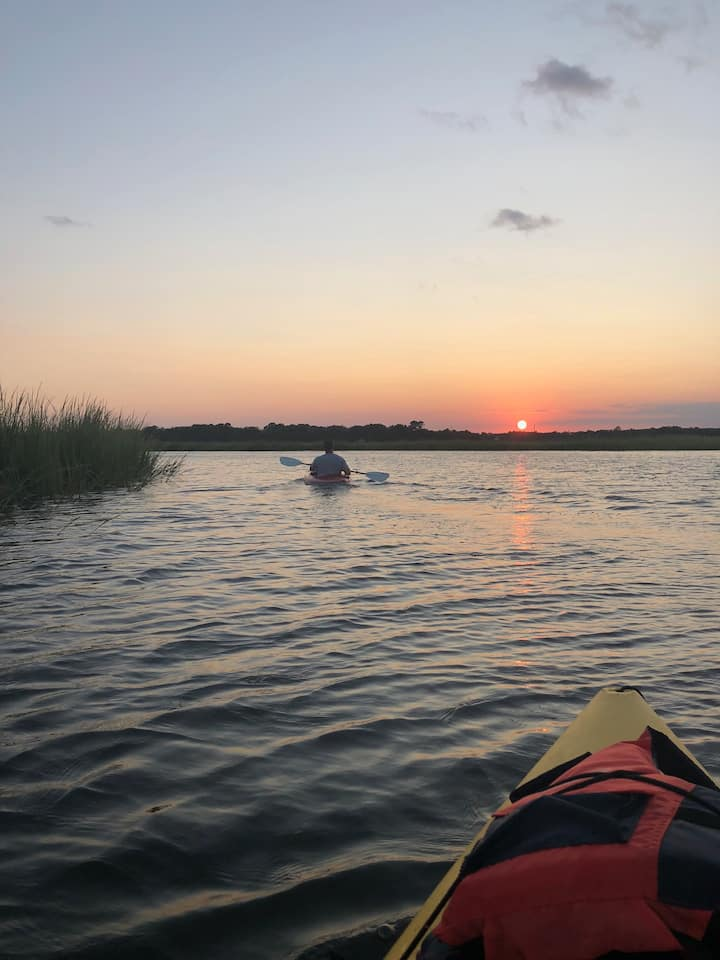 Returning just before sunset
