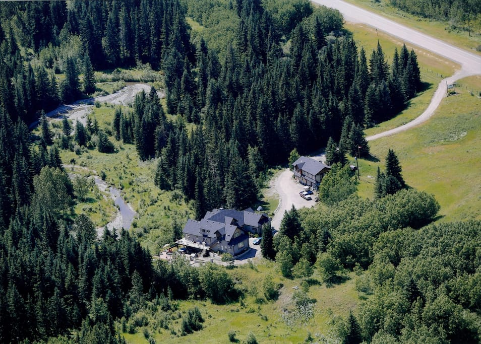 aerial view of the 11 acre estate