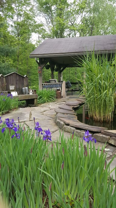 Sit on the back porch and listen to the relaxing sound of the water garden.