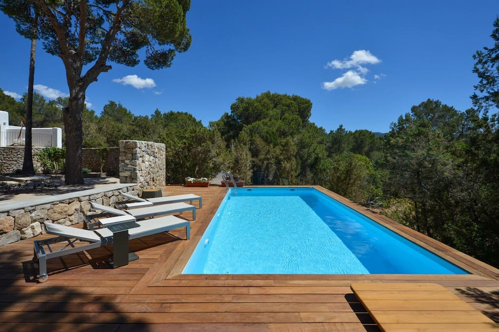Pool  has 3 loungers as well as a large sofa, umbrellas are available