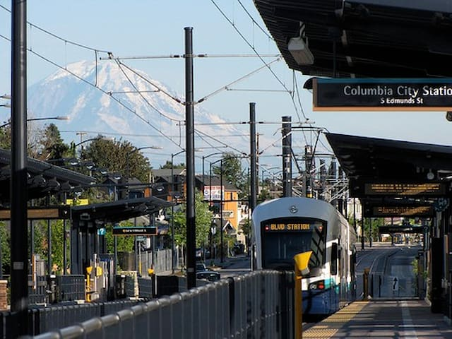 The Columbia City light rail station, located just two blocks away, with a stunning view of Mt. Rainier!