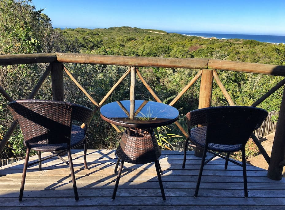 Enjoy your morning coffee or sundowners on this romantic balcony overlooking nature reserve and sea