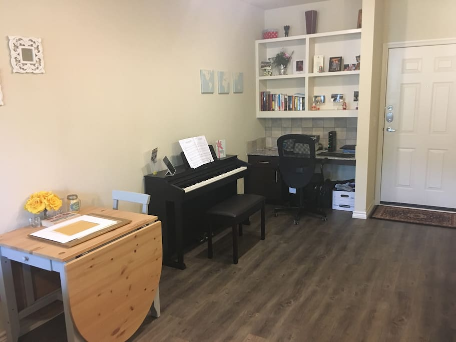 Peaceful work area and relax playing the piano!