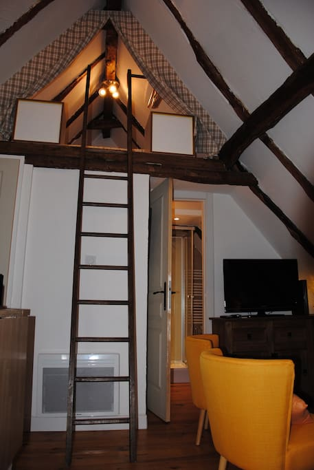 Ladder to mezzanine with double bed
