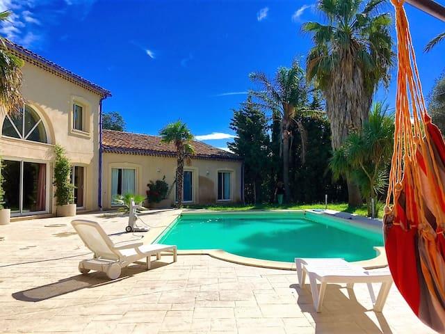 Maison provençale piscine 10 pers proche plage - Perpignan - Hus