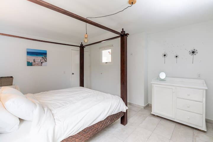 Master bedroom with King bed, walking closet and private bathroom with shower and toilet