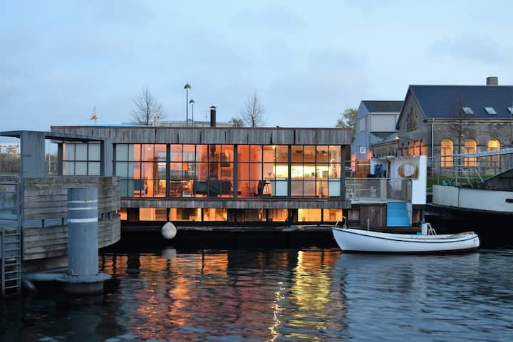 Boathouse with evening sun Copenhagen K
