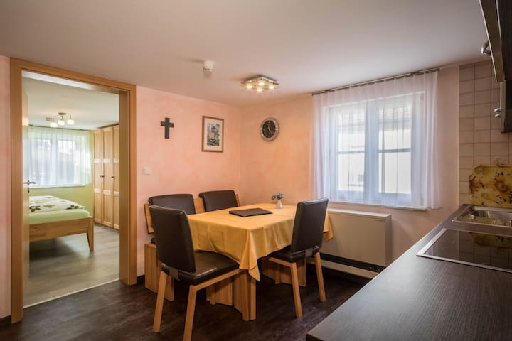 """Well-Furnished Apartment """"Pfingstrose"""" on Farm close to Lake Constance with Wi-Fi, Terrace, Garden & Pool; Parking Available"""