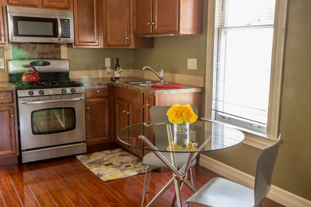 Enjoy a leisurely cup of coffee in the morning in your fully, equipped Kitchen.