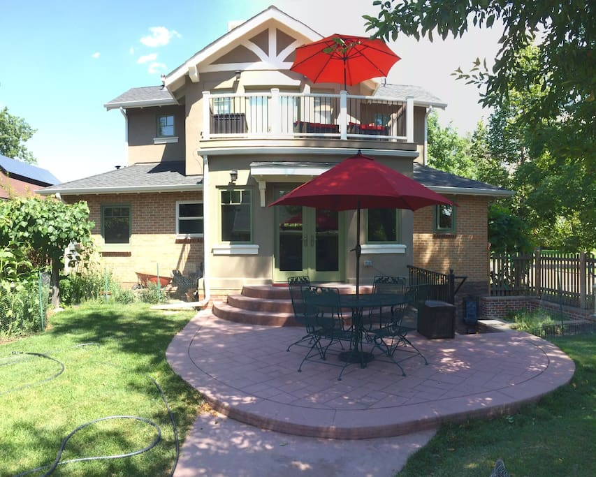 Relax on the back patio or upstairs balcony