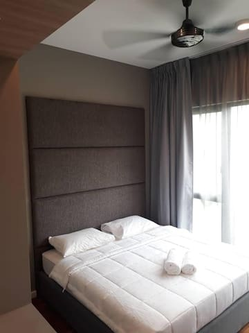 Master bedroom, king sized bed, aircond and ceiling fan