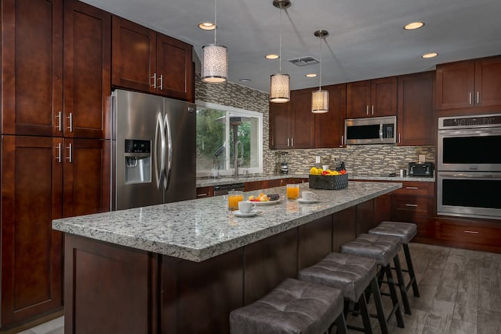 Completely stocked kitchen with stainless steel appliances